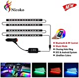 Waterproof led Atmosphere car Lights, Nicoko Interior Car LED Strip Light 72 LED Bluetooth APP Controller Lighting Kits, Multi Chasing Color Music Control Under Dash Car with Charger, DC 12V Pack 4