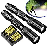 X.Store 2 Pack of 3000 Lumes Black Tactical LED Flashlight Outdoor 5 Modes