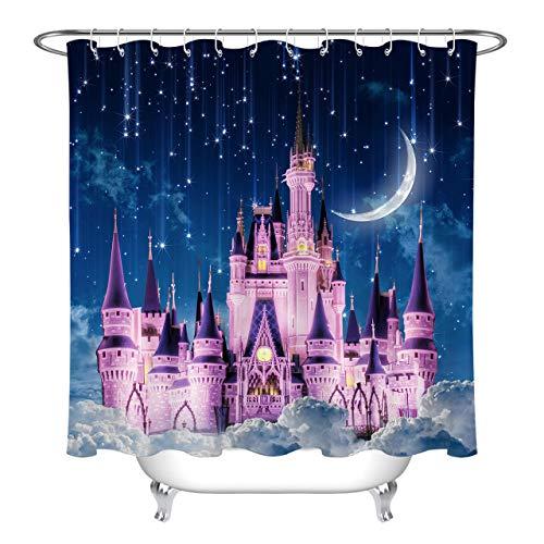 Hvest Pink Castle Duschvorhang Dreamlike Magic Castle in Sternenhimmel & Mond Badvorhang Kinder Prinzessin Stoff Märchen Duschvorhänge für Badezimmer Dekoration, 183 x 183 cm (B x H)