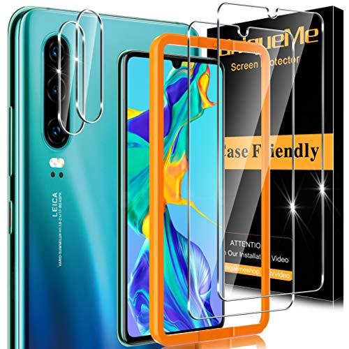[2+2 Pack] UnqiueMe Schutzfolie Kompatibel mit Huawei P30 Panzerglas und Kamera Folie,Glasfolie für Huawei P30 Panzerglasfolie, [Anti- Kratzer][Blasenfrei] Schutzglas Gehärtetes Glas