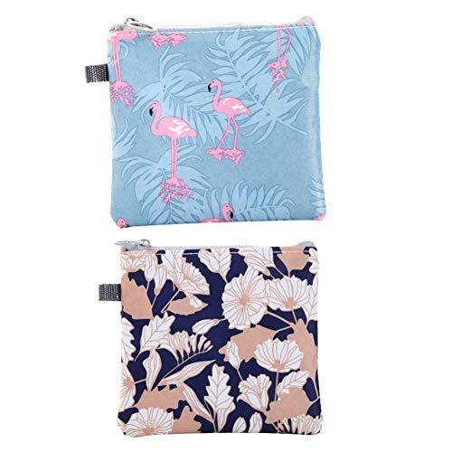 Damenbinden Tasche mit Reißverschluss Tampons Collect Taschen Beutel Organisator Wasserdichtes Servietten Pflege Pad-Halter für Frauen und Mädchen Blumen Flamingo Art 2Pcs