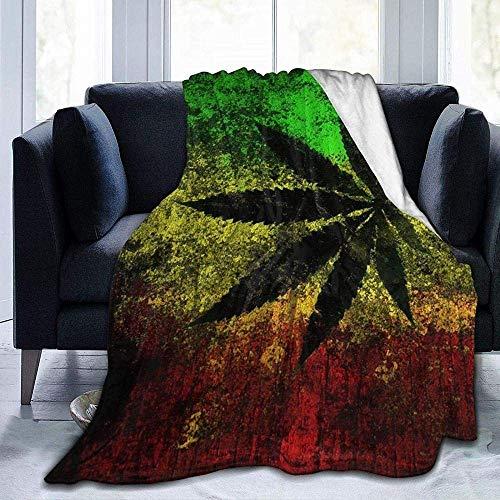 Mantas, de fácil cuidado, forro polar súper cálido, suave, versátil, manta para sofá, manta impresa con hojas de bandera de Jamaica, para dormitorio, sala de estar, sofá, cama, sofá de 152 x 127 cm