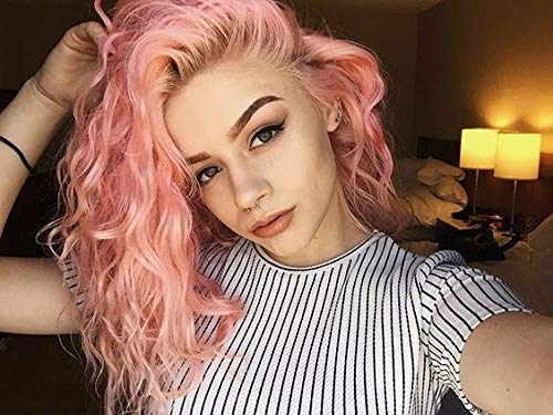 Beibingyang Pink Wig Short Curly Mix Colored Synthetic Hair Lace Front Wigs Natural Looking Peach Pink Glueless Costume Lace Wigs For Women 16inch