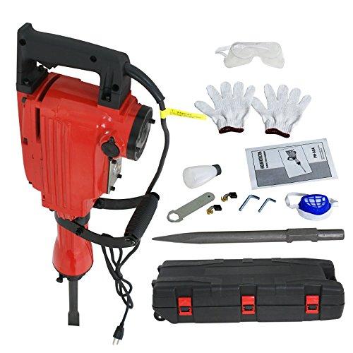 ZENY 2200W Heavy Duty Electric Demolition Jack Hammer Concrete Breaker Drills w/Case, Gloves 2 Chisel 2 Punch Bit Set