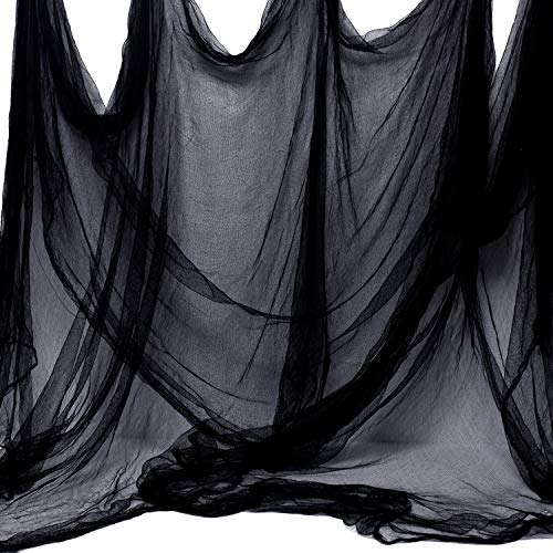 Whaline Halloween Black Creepy Cloth 276 x 87 inch Spooky Halloween Decoration for Haunted Houses Party Supplies