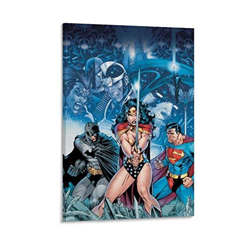 Ghychk Justice-League Bat-Man & Super-Man Poester - Cuadro de arte para sala de estar, listo para colgar, 60 x 90 cm
