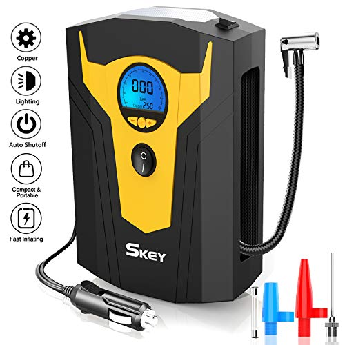 Skey Air Compressor Tire Inflator - Electric Auto Pump 12V DC Portable Air Compressor Pump Digital Tire Inflator Car Tire Pump
