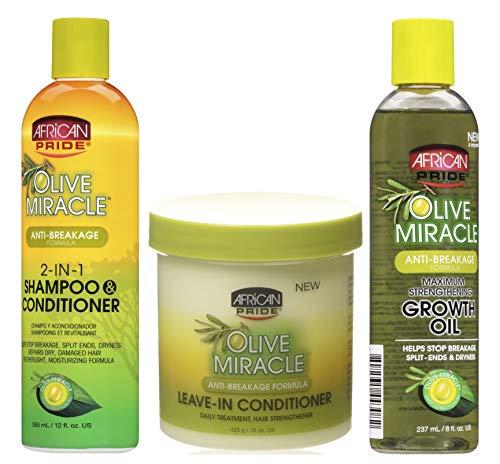African Pride Olive Miracle | 3er-Set gegen Haarbruch | 2-in-1 Shampoo und Spülung | Leave-In-Spülung | Wachstumsförderndes Haaröl für maximal gekräftigtes Haar