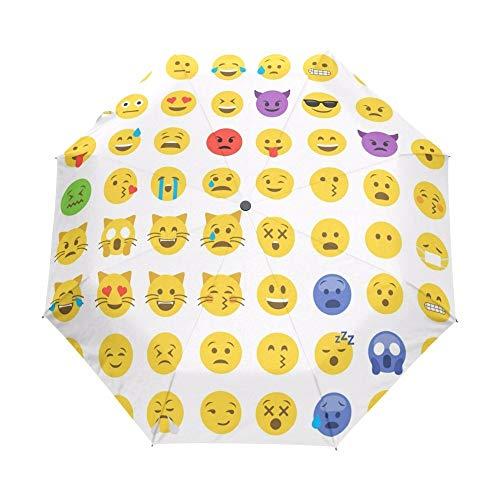 YOUZHA Regenschirm Lustige Emoji Muster Regenschirm Regen Frauen vollautomatische Regenschirm außen Sonnen- und Regenschirm Sonnenschirm Sonnenschirm, Nicht automatisch