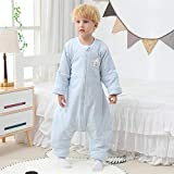 Saco de Dormir de Algodón Unisex para Bebés,Saco de dormir acolchado de invierno para bebé, pijama de manga larga y legging grueso-Azul claro_M código,Manta de Invierno para Bebé Recién Nacido Manta