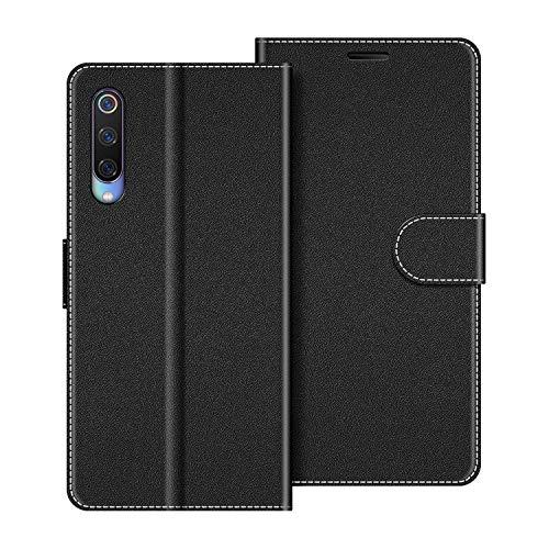 COODIO Handyhülle für Xiaomi Mi 9 Handy Hülle, Xiaomi Mi 9 Hülle Leder Handytasche für Xiaomi Mi 9 Klapphülle Tasche, Schwarz