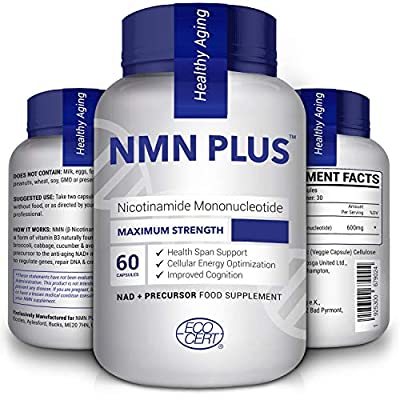 Maximum Strength NMN Capsules, 300mg Per Capsule, Stabilized Form, Naturally Boost NAD+ Levels for Mental Performance, DNA Repair & Anti Aging, 60 Capsules Nicotinamide Mononucleotide Supplement