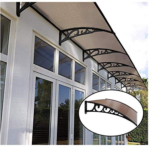 XQW Eaves Canopies Brown Eaves Canopy, Polycarbonate Sheet Aluminum Alloy Brackets Rain Snow Protection Cover Depth 60cm/80cm/100cm (Color : Brown+champagne, Size : 60x120cm)