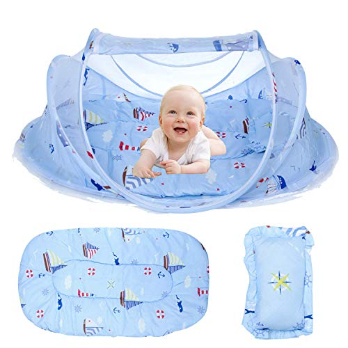 Baby Travel Bed, Portable Baby Bed,Travel Folding Baby Crib, Baby Cots Newborn Foldable Crib with Mosquito Net, for 0-24 Month Baby Blue Pattern