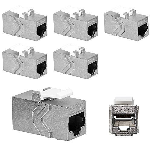 kwmobile 6X Adaptador Cable de Red RJ45 - Acoplador de Keystone para unir Cables Ethernet RJ 45 y CAT6 - Set 6X de Conectores - Conector de Red Hembra