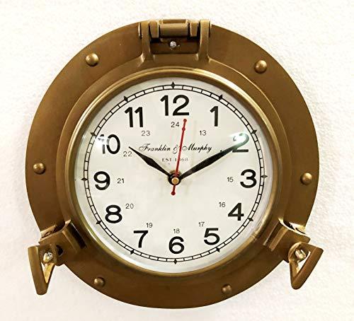 Reloj de pared náutico de latón antiguo de 22,86 cm para decoración del hogar