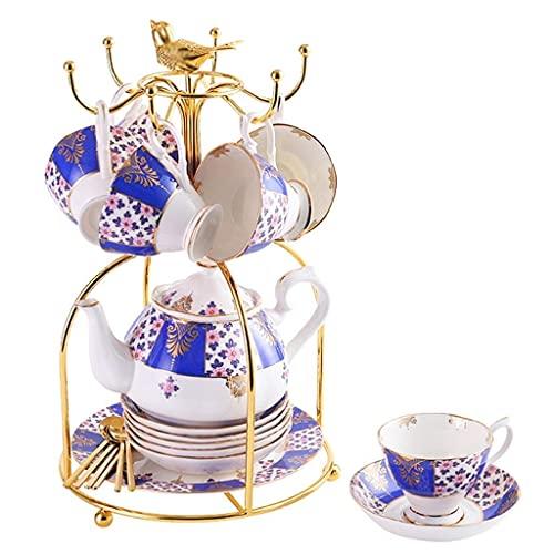 CCAN Juego de Regalo de té de cerámica de Porcelana de 21 Piezas con Soporte de Metal, Juego de Servicio de café con Tazas, platillos, Tetera (Color: E) Interesting Life