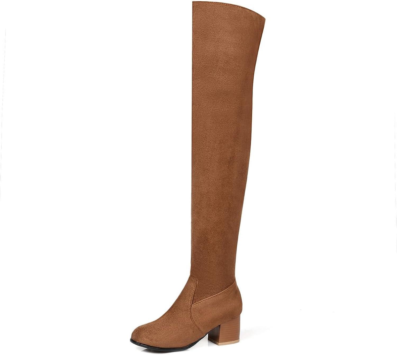 DoraTasia Sexy Suede Nubuck Mid Heel Women's Above The Knee Boots