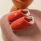 Zapatillas De Algodón,Sencillo Casual Lindo Cómodo Suave Lindo Bolso Cálido Con Piel De Felpa Zapatillas Rojas Para El Hogar Zapatillas De Algodón Para Dormitorio Zapatillas Antideslizantes Para