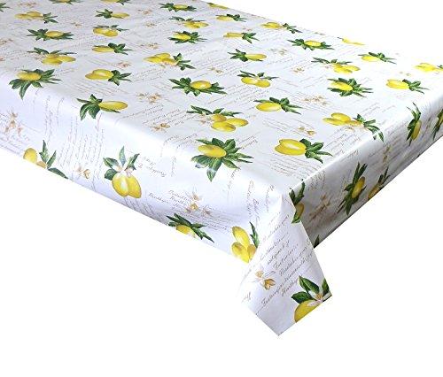3metres (300cm x 137cm) vinyl tovaglia 10posti Dimensioni limoni con fiore bianco su una base bianco sporco Scripted vinyl/PVC Table Cloth Wipe Clean Textile Backed (50)