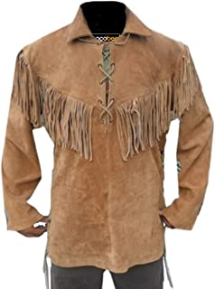 Traditional Cowboy Jacket in Western Style with Fringe and Tassels Suede Leather Coat