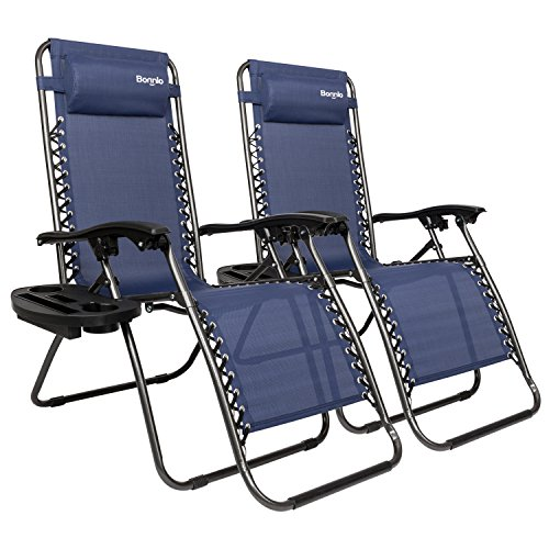 Bonnlo Infinity Zero Gravity Chair, Outdoor Lounge Patio Chairs with Pillow and Utility Tray Adjustable Folding Recliner for Deck,Patio,Beach,Yard Pack 2 (Blue)