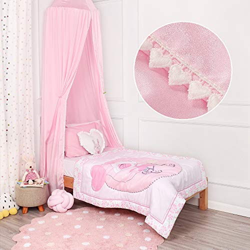 TILLYOU Baby Bed Canopy with Frills, Silky Soft Microfiber Canopy for Crib and Toddler Bed, Hanging Game Tent for Kids, Mosquito Net Nursery Play Room Decor, Pink