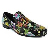 ÃZARMAN Men's Slip On Multi Color Embroidered Dress Shoes Loafers (11 U.S (D) M, Black)