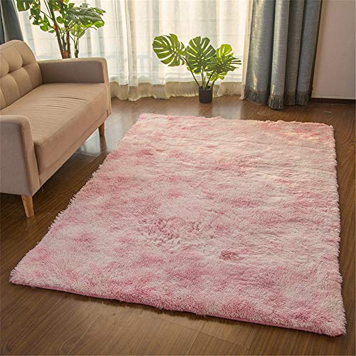 TROYSINC - Tappeto a pelo lungo, soffice, a pelo lungo, lavabile per soggiorno, camera da letto, Pink, 80 x 160 cm