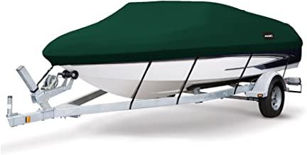 MSC Heavy Duty 600D Marine Grade Polyester Canvas Trailerable Waterproof Boat Cover,Fits V-Hull,Tri-Hull, Runabout Boat Cover