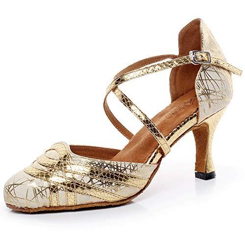 Love Shoes Scarpe Da Ballo Di Tango Scamosciata Suola in Morbida Punta Chiusa in Pelle Tacco Basso E Medio Scarpe Da Ballo Latino Standard,D'oro,34EU