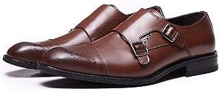 DADIJIER Tenue de Ville en Cuir Oxords pour Hommes Captoe Brogue Chaussures Monk Strap Résistant à l'abrasion (Color : Mar...