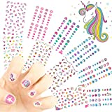 Unicorn Kids Nail Art Stickers Decals for Little Girls, 500+ Cute Rainbow Heart Stars Princess Aniuvot Nail Wrap Decoration Self Adhesive Finger Toe Tip Stickers Birthday Party Favor Gift