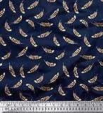 Soimoi Blau Baumwoll-Voile Stoff Adler Feder gedruckt Craft
