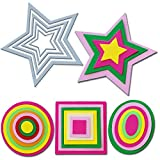Crafting Dies -Fustelle Metalliche Scrapbooking Forme Geometriche Fustella Stella, Fustella Quadrato, Fustella Cerchio e Fustella Ovale Senza Impunture Thinlits (4 Pezzi)