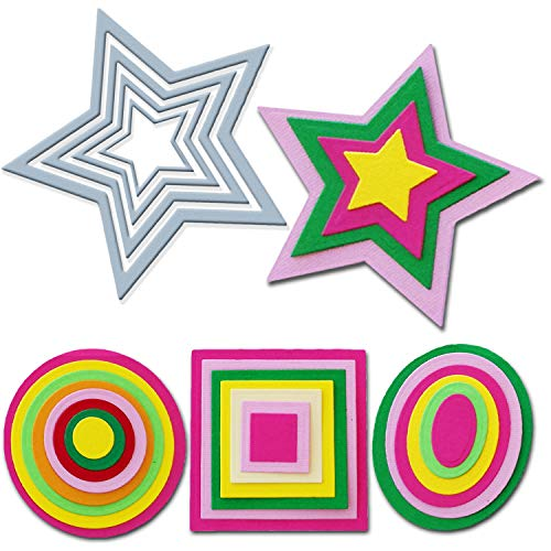 Crafting Dies - Juego de 4 Troqueles metálicos con diseño de Estrellas, Cuadrados, círculos y elípticos