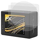 atFoliX Película Protectora Compatible con SJCAM (QUMOX) SJ5000X Elite Lámina Protectora de Pantalla, antirreflejos y amortiguadores FX Protector Película (Set de 3)