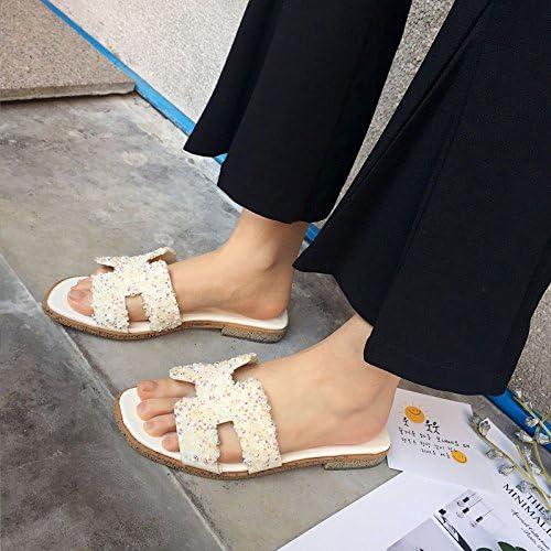 Femmes Sandales ouvertes Toe Mules Low Heel Rhinestone Ladies Slippers Pompes blanc noir