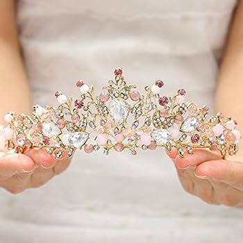 Elairy Baroque Pink Wedding Crown Crystal Bride Tiara Leaf Crown and Tiara Rhinestone Bridal Headpieces for Women and Girls