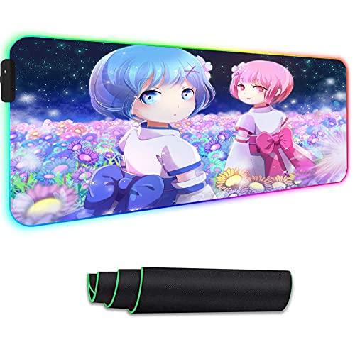 Alfrombrillas de ratón para Gamers RGB Re Zero Anime Cafe Teclado ratón Grande para Juegos para PC Portátil ratón Suave extendida para Juegos 14 Modos de luz 700x300mm