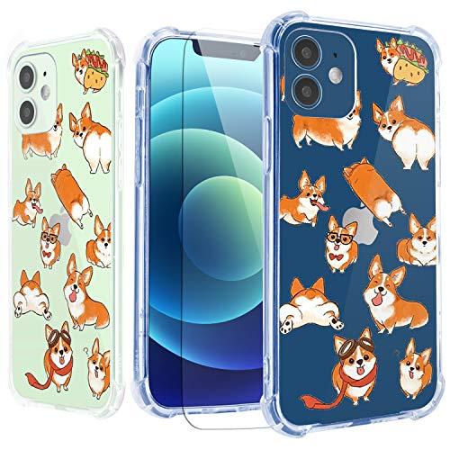 Cute Corgis Case for iPhone 12 Mini with Screen Protector,for iPhone 12 Mini Case Puppy,Clear Puppy Design TPU [Shock Absorbing] Soft Bumper Protective Case Cover for iPhone 12 Mini 5.4 inch- Puppy