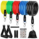 KEEPTO Resistance Bands Set (11pcs) Exercise Bands with Door Anchor, Handles, Waterproof Carry Bag, Legs Ankle Straps for Resistance Training, Physical Therapy, Home Workouts 100LBS