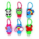 6 Sets Cartoon Kids Empty Travel Bottle Hand Sanitizer Holder with Silicone Case Leak Proof Refillable Travel Containers Liquid Soap Daily Use (Animal)