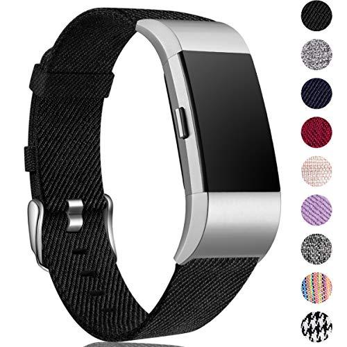 HUMENN Kompatibel für Fitbit Charge 2 Armband, Atmungsaktiv Ersatzband Gewebte Stoff Armbänd für Fitbit Charge 2 Tracker, Groß Schwarz