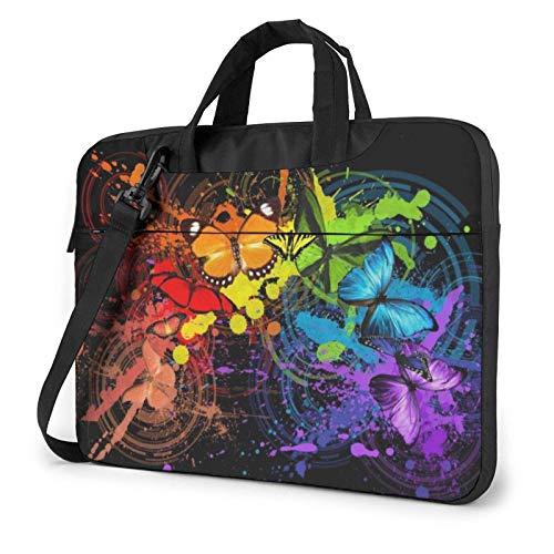 15.6 inch Laptop Shoulder Briefcase Messenger Art Graffiti Butterflies Print Tablet Bussiness Carrying Handbag Case Sleeve