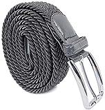 Leoodo Cinturón elástico unisex con hebilla de metal rectangular de tejido trenzado, cinturón elástico para mujeres y hombres antracita 110