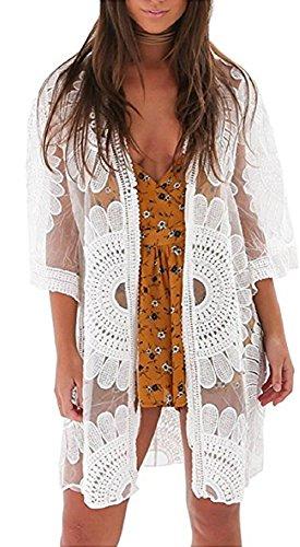Ho Mall - Manta bohemia de playa bordada indio crepúsculo, geometría, impresión de encaje Maxi playa muselina de seda kimono blanco1 Talla única