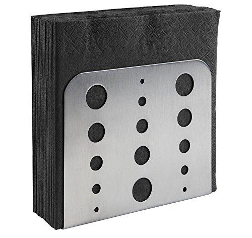 APS Serviettenhalter, Serviettenspender aus Edelstahl 18/0, Serviettenständer mit möbelschonender Unterseite für Servietten 1/4 Falz, matt poliert, 4,5 x 15 cm, Höhe 12,5 cm