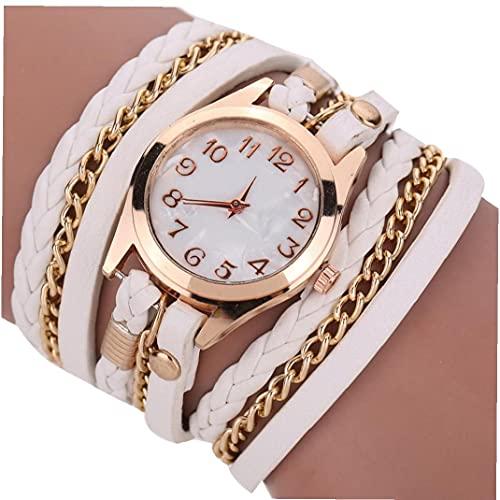Mujeres multicapas Weaving Bangle Watch Pulsera de Cuarzo analógico Reloj con Brazalete de Cuero Cadena Reloj de Pulsera Batería incorporada Blanco