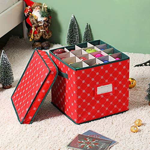 Cajas de almacenamiento con tapas para adornos de Navidad [1 paquete] – Cajas de almacenamiento para almacenar decoración de Navidad...